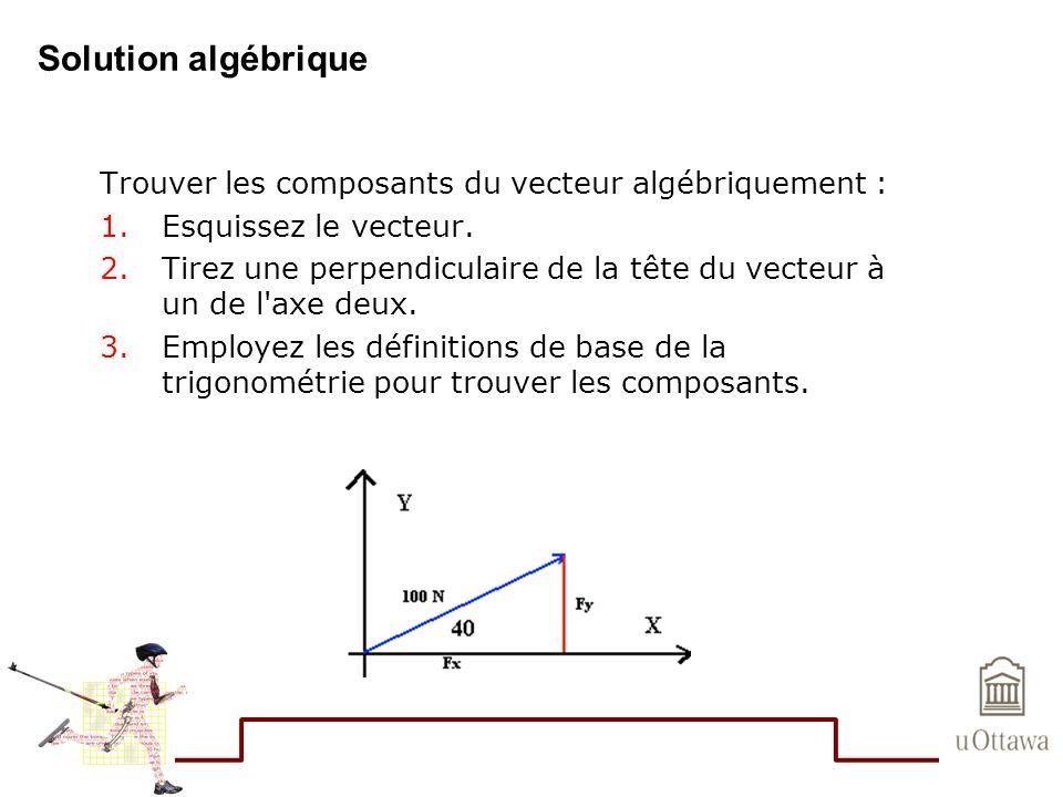 Solution algébrique Trouver les composants du vecteur algébriquement :