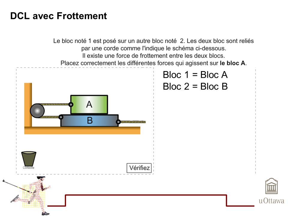 DCL avec Frottement Bloc 1 = Bloc A Bloc 2 = Bloc B