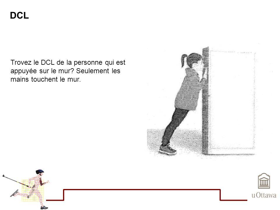 DCL Trovez le DCL de la personne qui est appuyée sur le mur Seulement les mains touchent le mur.
