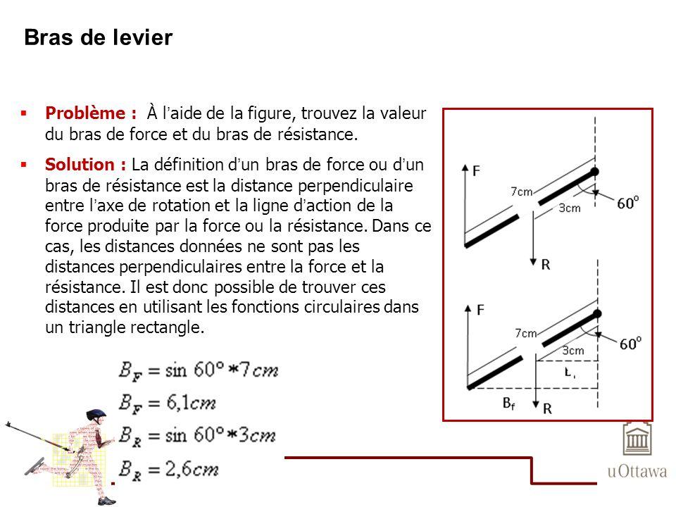 Bras de levier Problème : À l'aide de la figure, trouvez la valeur du bras de force et du bras de résistance.