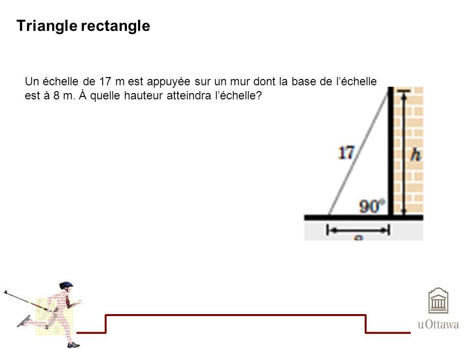 Triangle rectangle Un échelle de 17 m est appuyée sur un mur dont la base de l'échelle.