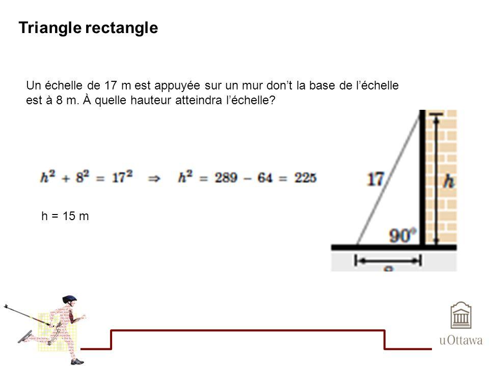 Triangle rectangle Un échelle de 17 m est appuyée sur un mur don't la base de l'échelle. est à 8 m. À quelle hauteur atteindra l'échelle