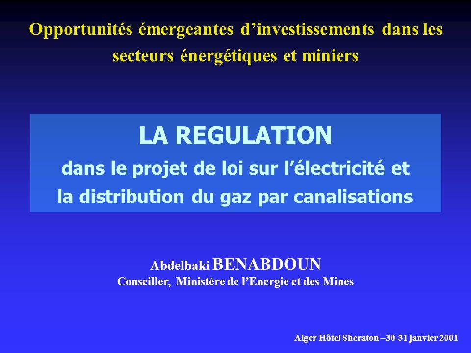 LA REGULATION dans le projet de loi sur l'électricité et