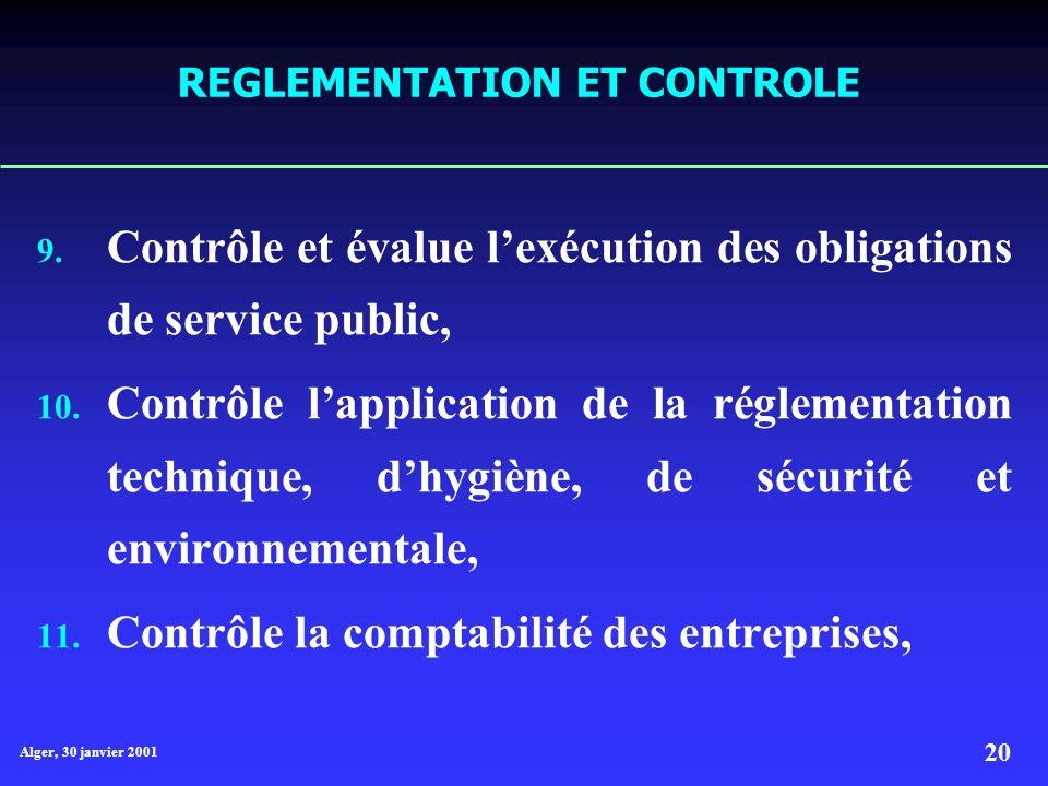 REGLEMENTATION ET CONTROLE