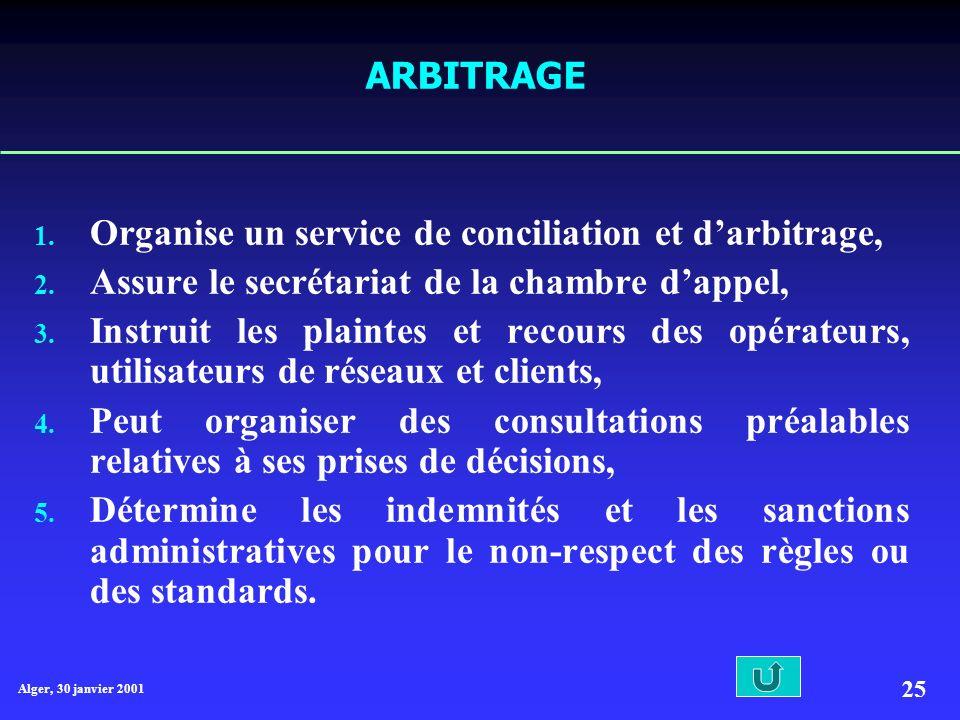 Organise un service de conciliation et d'arbitrage,
