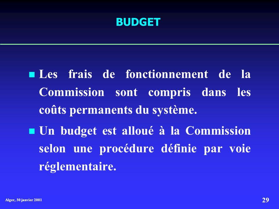 BUDGET Les frais de fonctionnement de la Commission sont compris dans les coûts permanents du système.