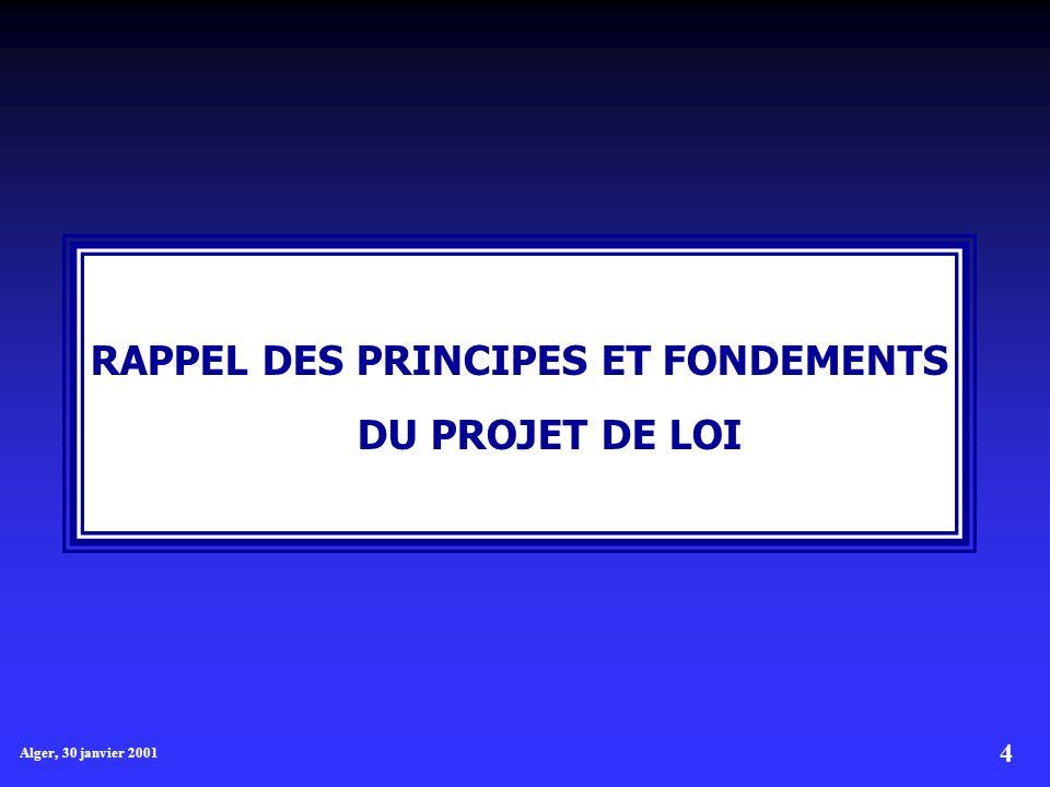 RAPPEL DES PRINCIPES ET FONDEMENTS DU PROJET DE LOI