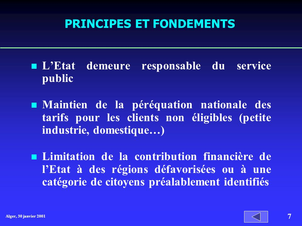 PRINCIPES ET FONDEMENTS