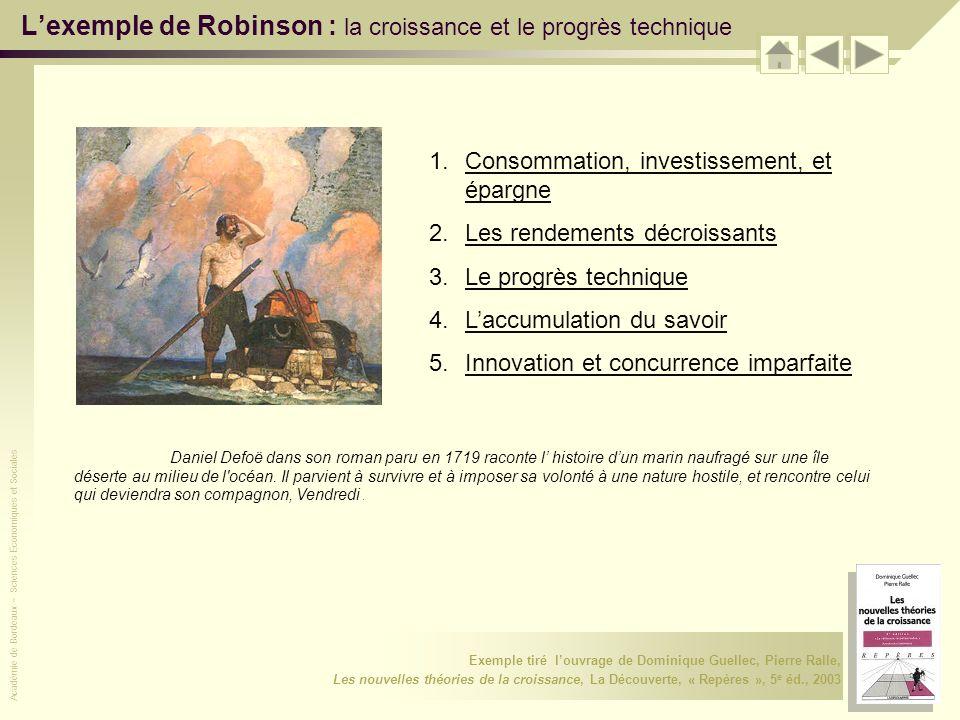 L'exemple de Robinson : la croissance et le progrès technique