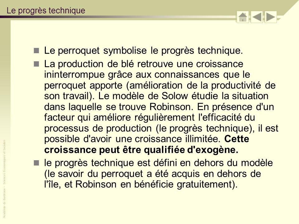 Le perroquet symbolise le progrès technique.