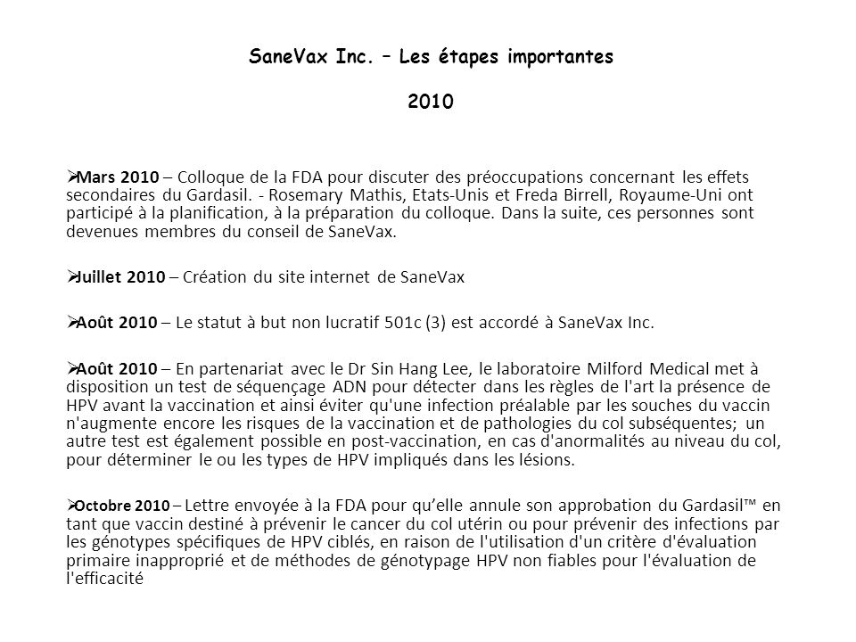 SaneVax Inc. – Les étapes importantes 2010