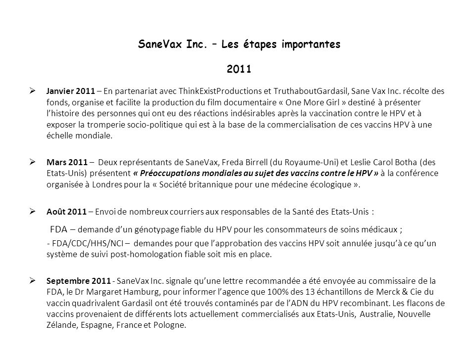 SaneVax Inc. – Les étapes importantes 2011