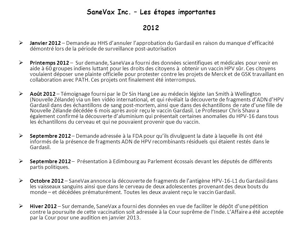 SaneVax Inc. – Les étapes importantes 2012