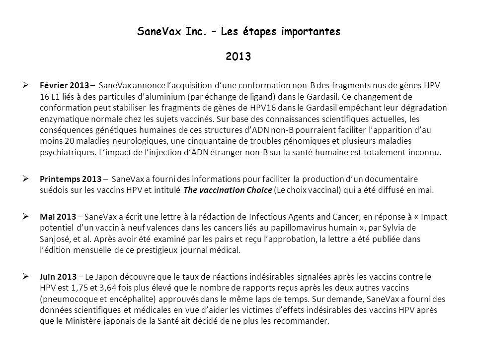 SaneVax Inc. – Les étapes importantes 2013