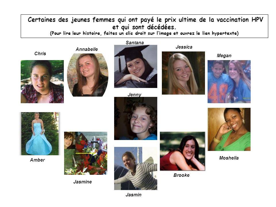 Certaines des jeunes femmes qui ont payé le prix ultime de la vaccination HPV et qui sont décédées. (Pour lire leur histoire, faites un clic droit sur l'image et ouvrez le lien hypertexte)