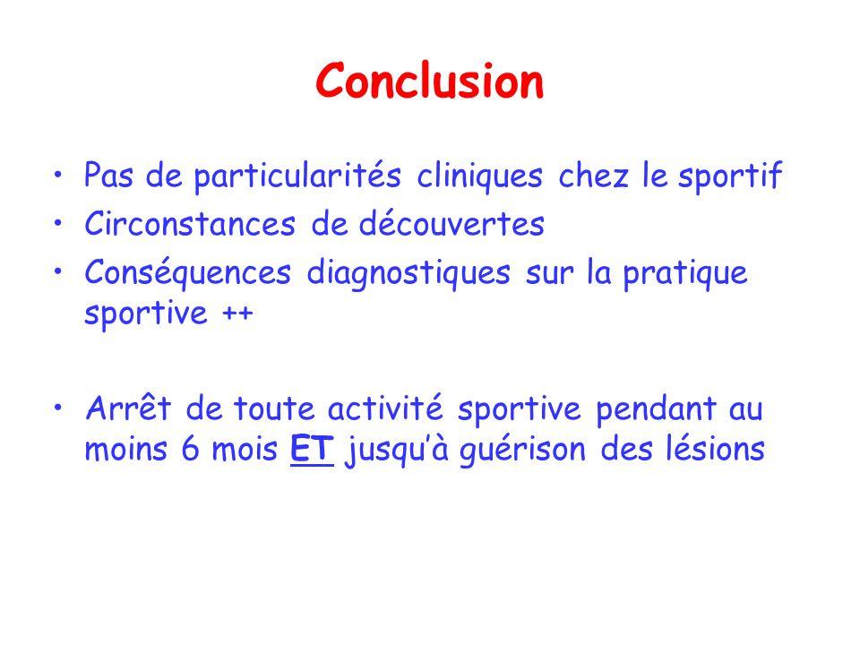 Conclusion Pas de particularités cliniques chez le sportif