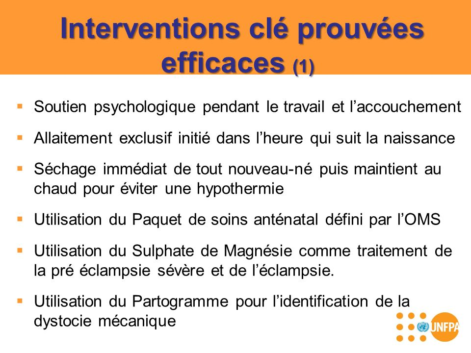 Interventions clé prouvées efficaces (1)
