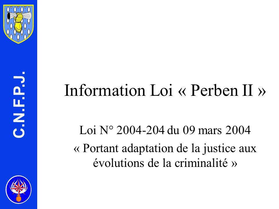 Information Loi « Perben II »