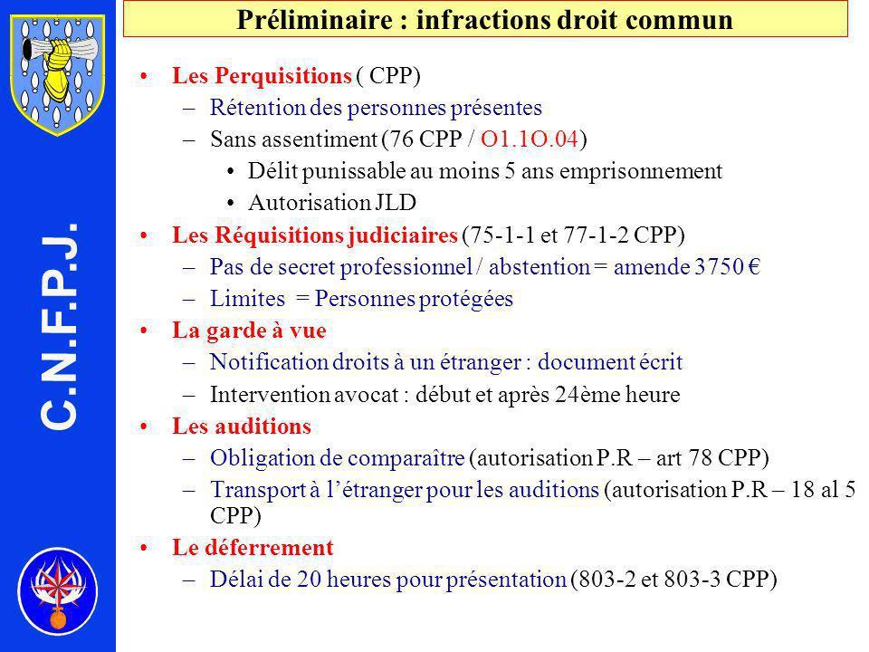 Préliminaire : infractions droit commun