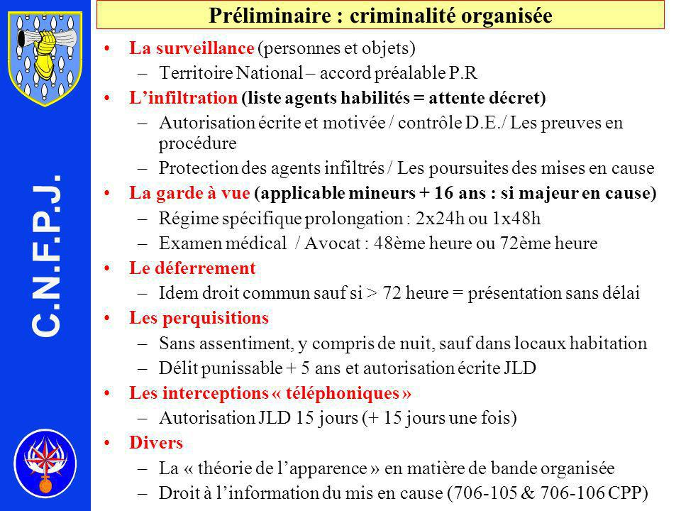 Préliminaire : criminalité organisée