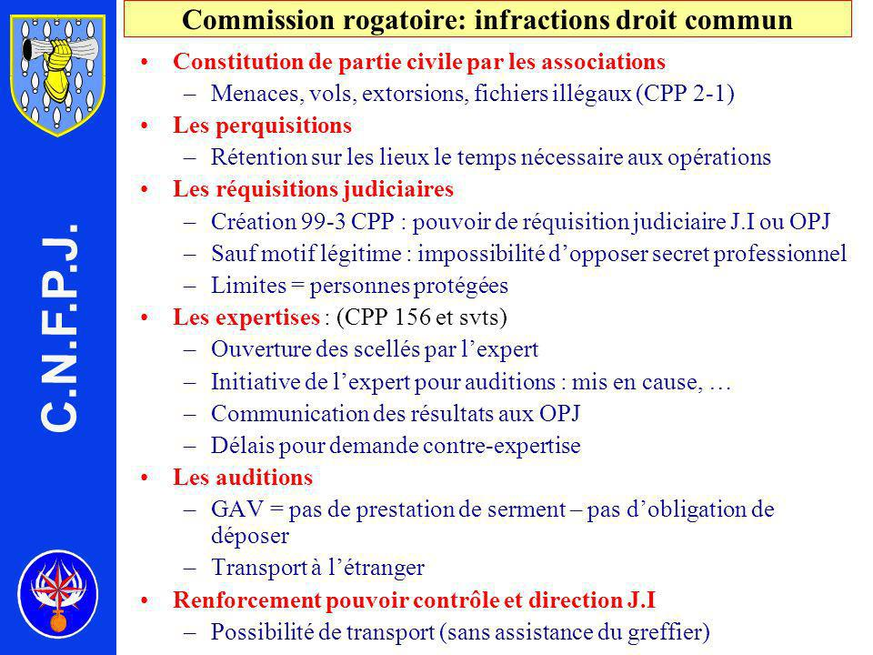 Commission rogatoire: infractions droit commun