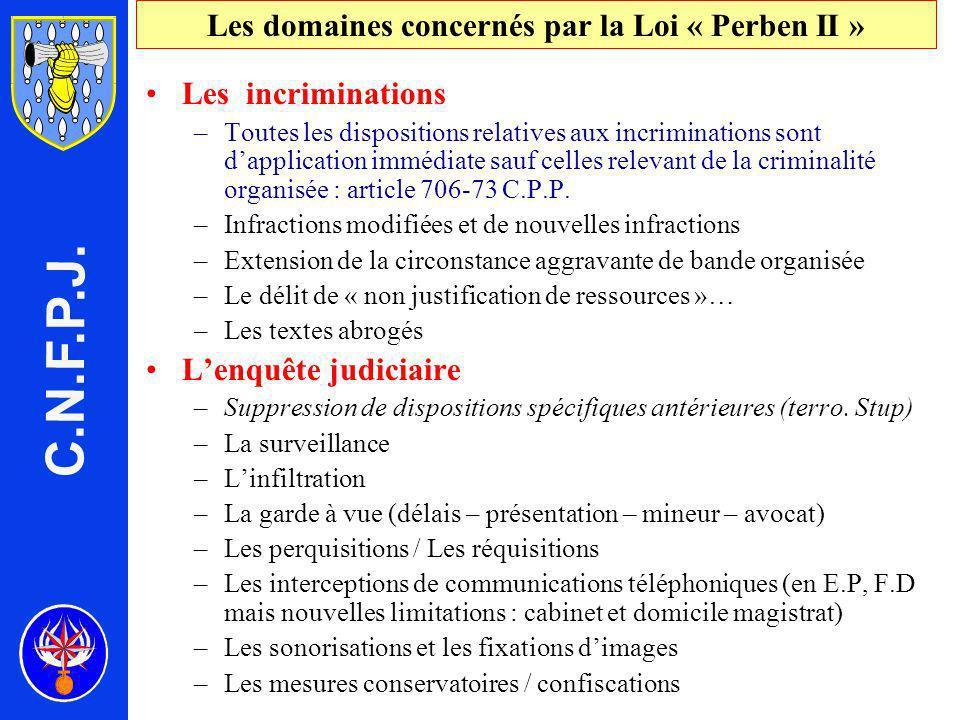 Les domaines concernés par la Loi « Perben II »