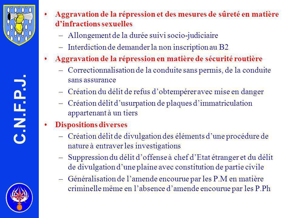 C.N.F.P.J. Aggravation de la répression et des mesures de sûreté en matière d'infractions sexuelles.