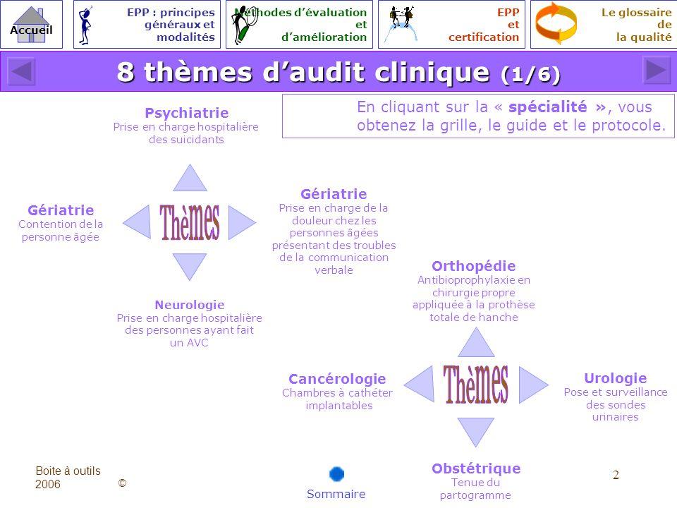 8 thèmes d'audit clinique (1/6)