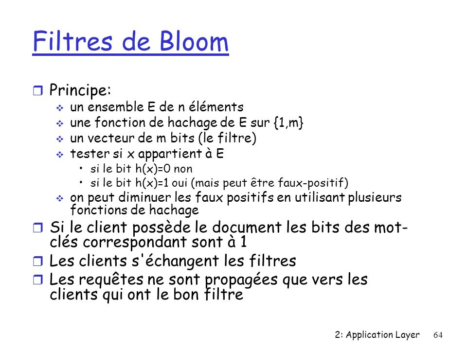Filtres de Bloom Principe: