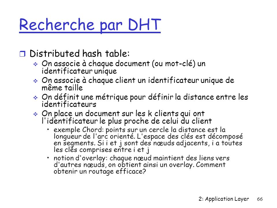Recherche par DHT Distributed hash table: