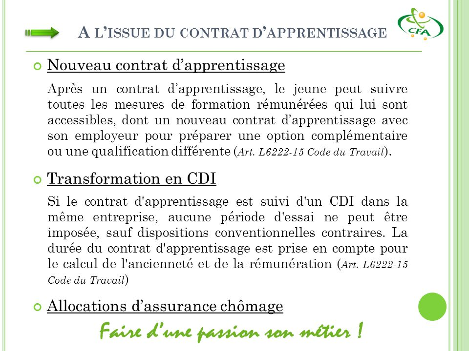 A l'issue du contrat d'apprentissage