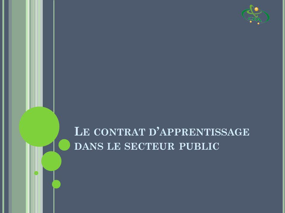 Le contrat d'apprentissage dans le secteur public