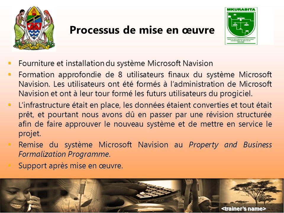Processus de mise en œuvre