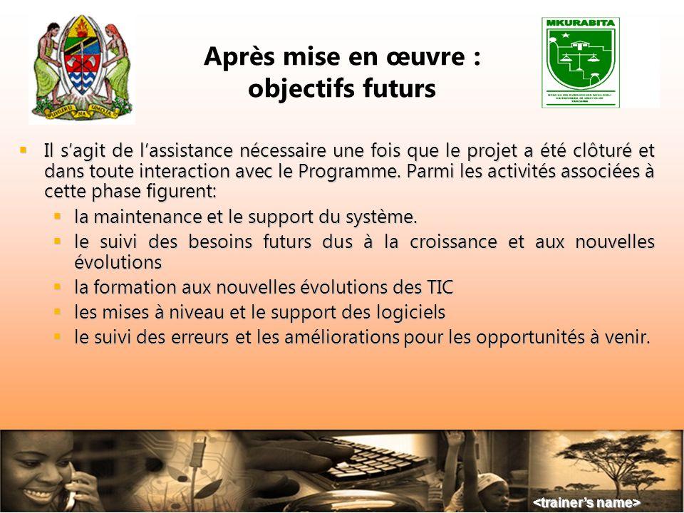Après mise en œuvre : objectifs futurs