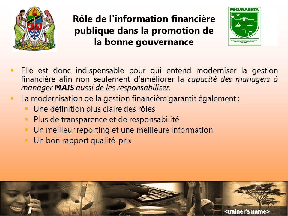 Rôle de l information financière publique dans la promotion de la bonne gouvernance