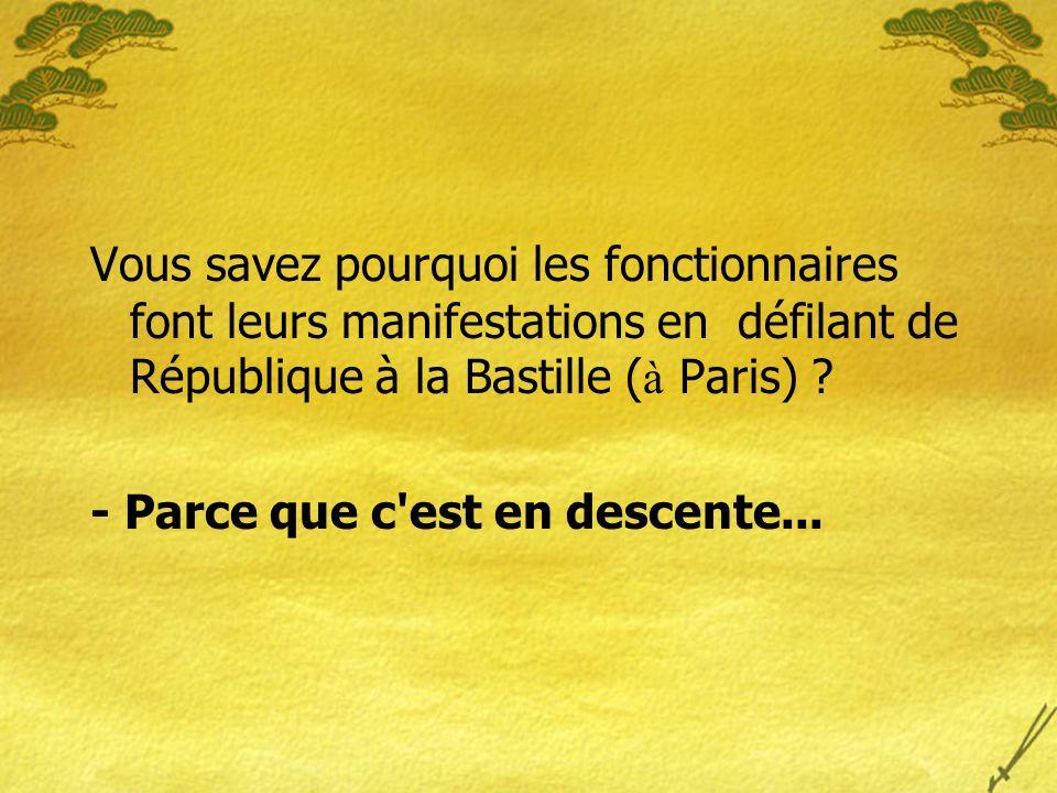 Vous savez pourquoi les fonctionnaires font leurs manifestations en défilant de République à la Bastille (à Paris)