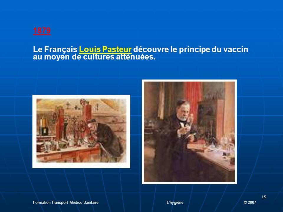 1879 Le Français Louis Pasteur découvre le principe du vaccin au moyen de cultures atténuées.