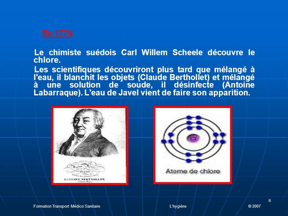 Le chimiste suédois Carl Willem Scheele découvre le chlore.