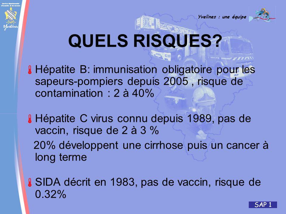 QUELS RISQUES Hépatite B: immunisation obligatoire pour les sapeurs-pompiers depuis 2005 , risque de contamination : 2 à 40%
