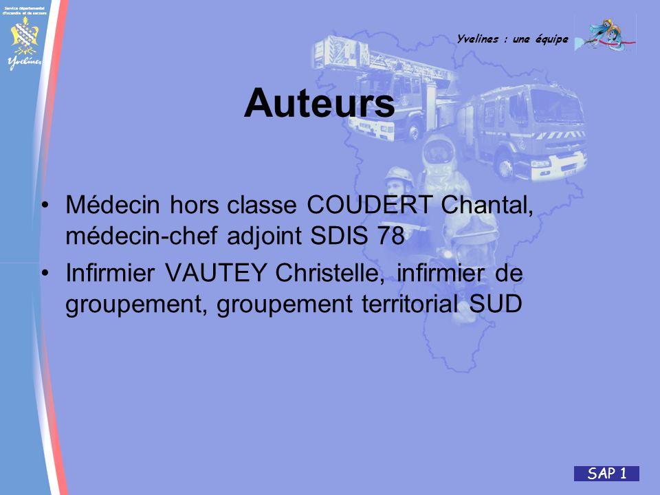 Auteurs Médecin hors classe COUDERT Chantal, médecin-chef adjoint SDIS 78.