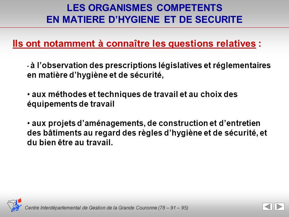 LES ORGANISMES COMPETENTS EN MATIERE D'HYGIENE ET DE SECURITE