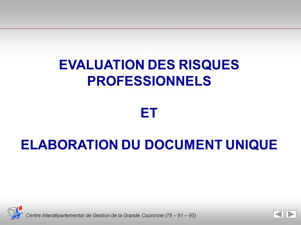 EVALUATION DES RISQUES PROFESSIONNELS ELABORATION DU DOCUMENT UNIQUE