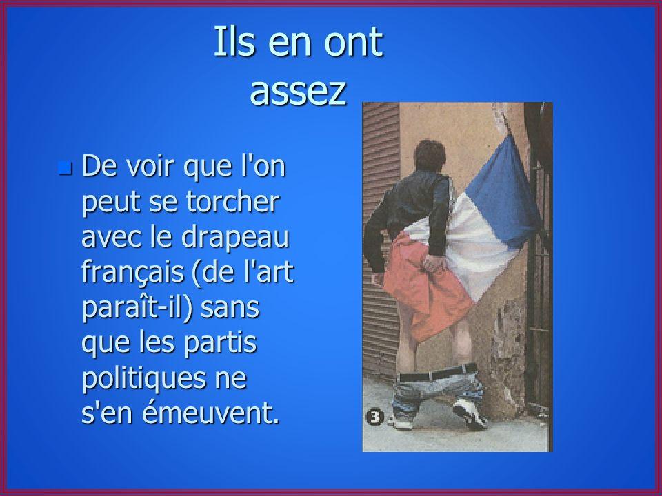 Ils en ont assez De voir que l on peut se torcher avec le drapeau français (de l art paraît-il) sans que les partis politiques ne s en émeuvent.