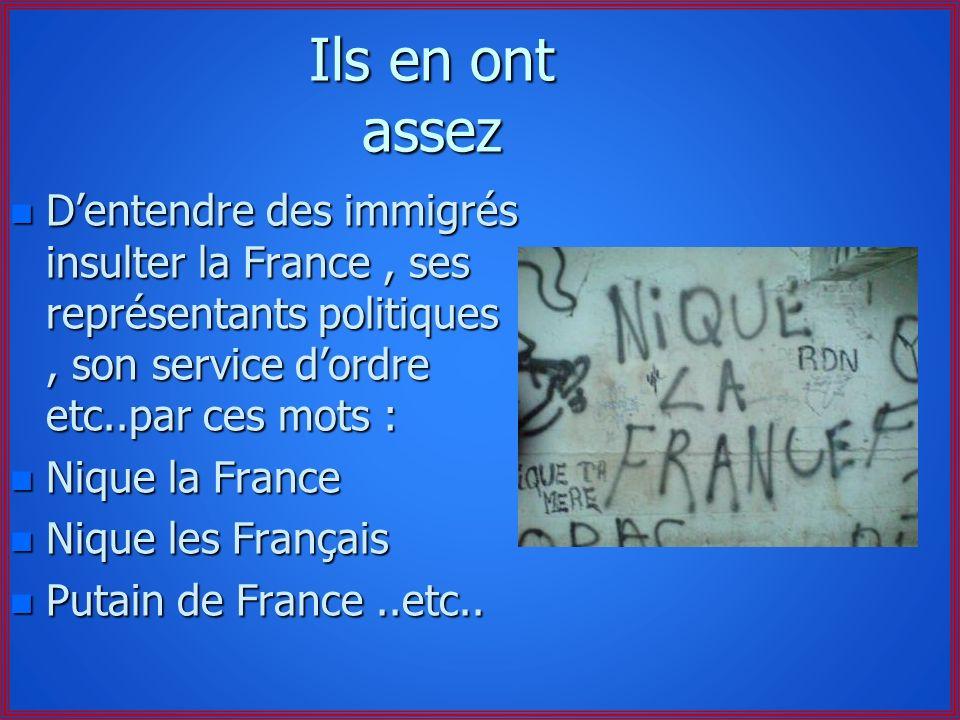 Ils en ont assez D'entendre des immigrés insulter la France , ses représentants politiques , son service d'ordre etc..par ces mots :
