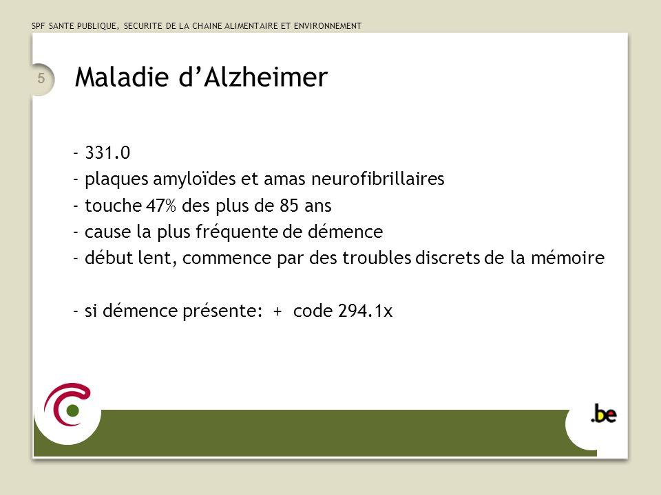 Maladie d'Alzheimer 331.0 plaques amyloïdes et amas neurofibrillaires