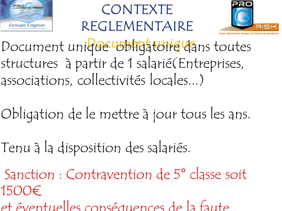CONTEXTE REGLEMENTAIRE Document unique