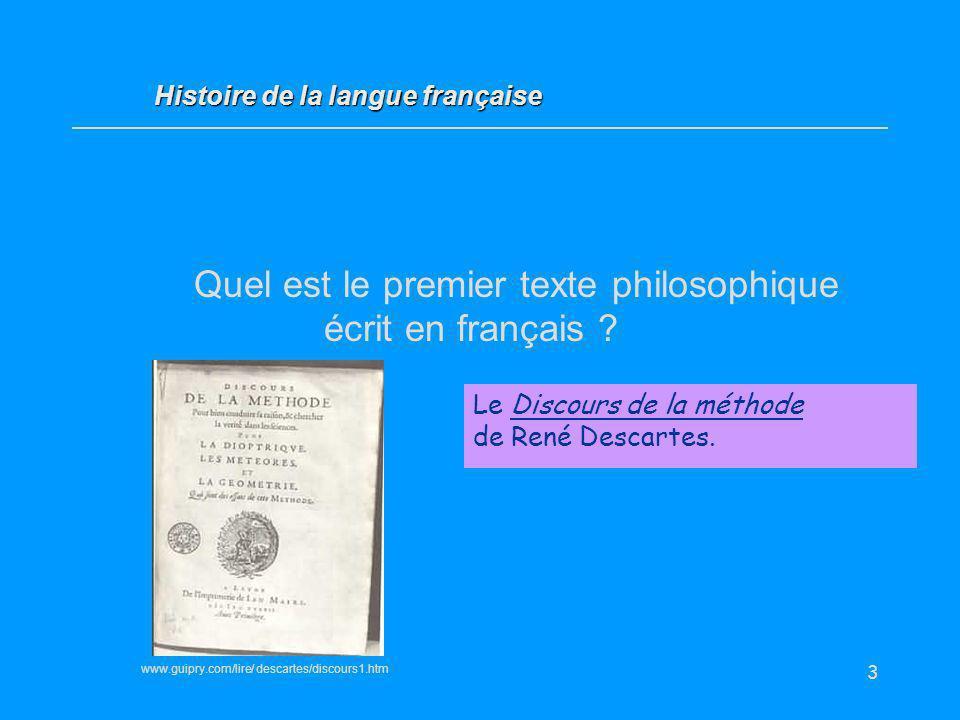 Quel est le premier texte philosophique écrit en français