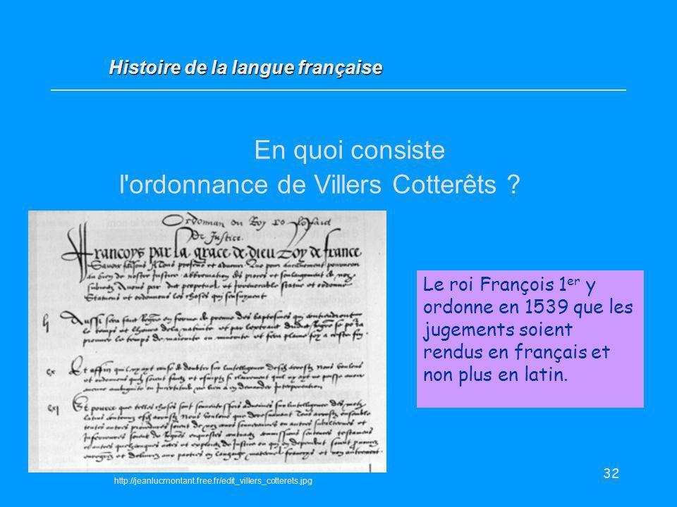 En quoi consiste l ordonnance de Villers Cotterêts