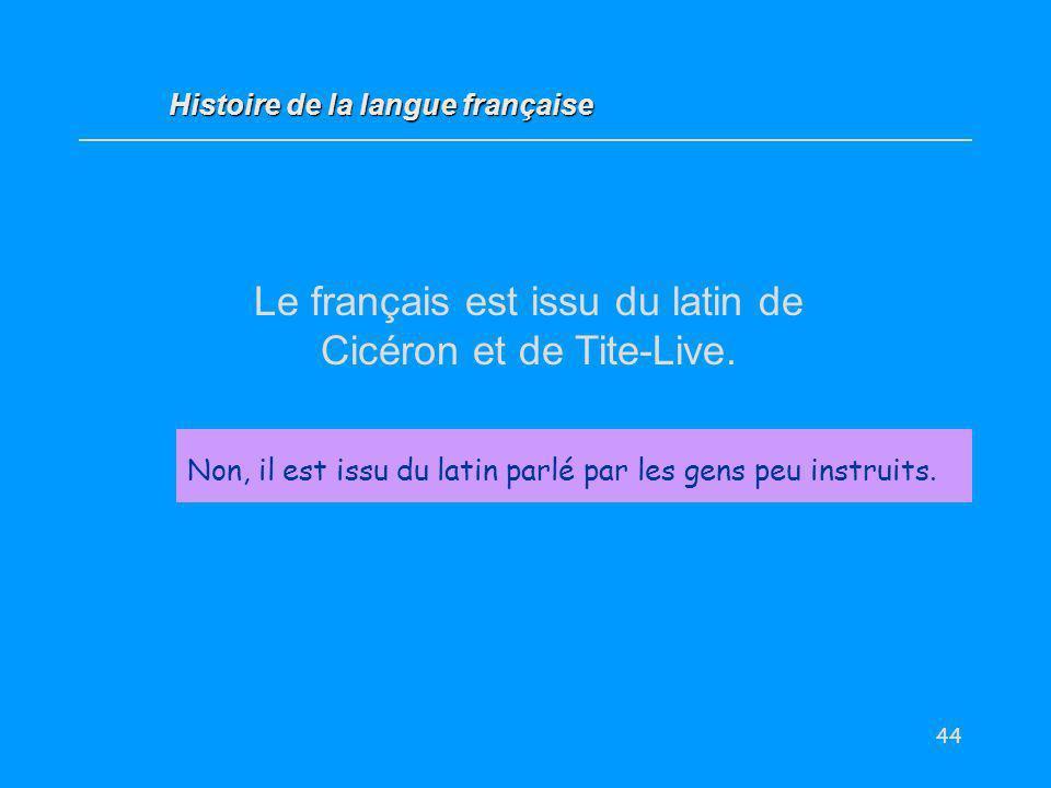 Le français est issu du latin de Cicéron et de Tite-Live.