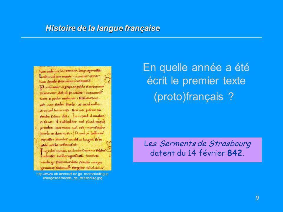 En quelle année a été écrit le premier texte (proto)français